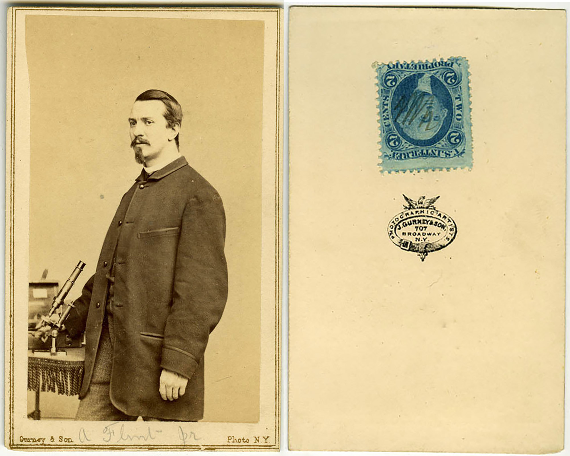 Mr A Flint Jr With His Microscope Carte De Visite Photograph By J Gurney And Son 707 Broadway New York