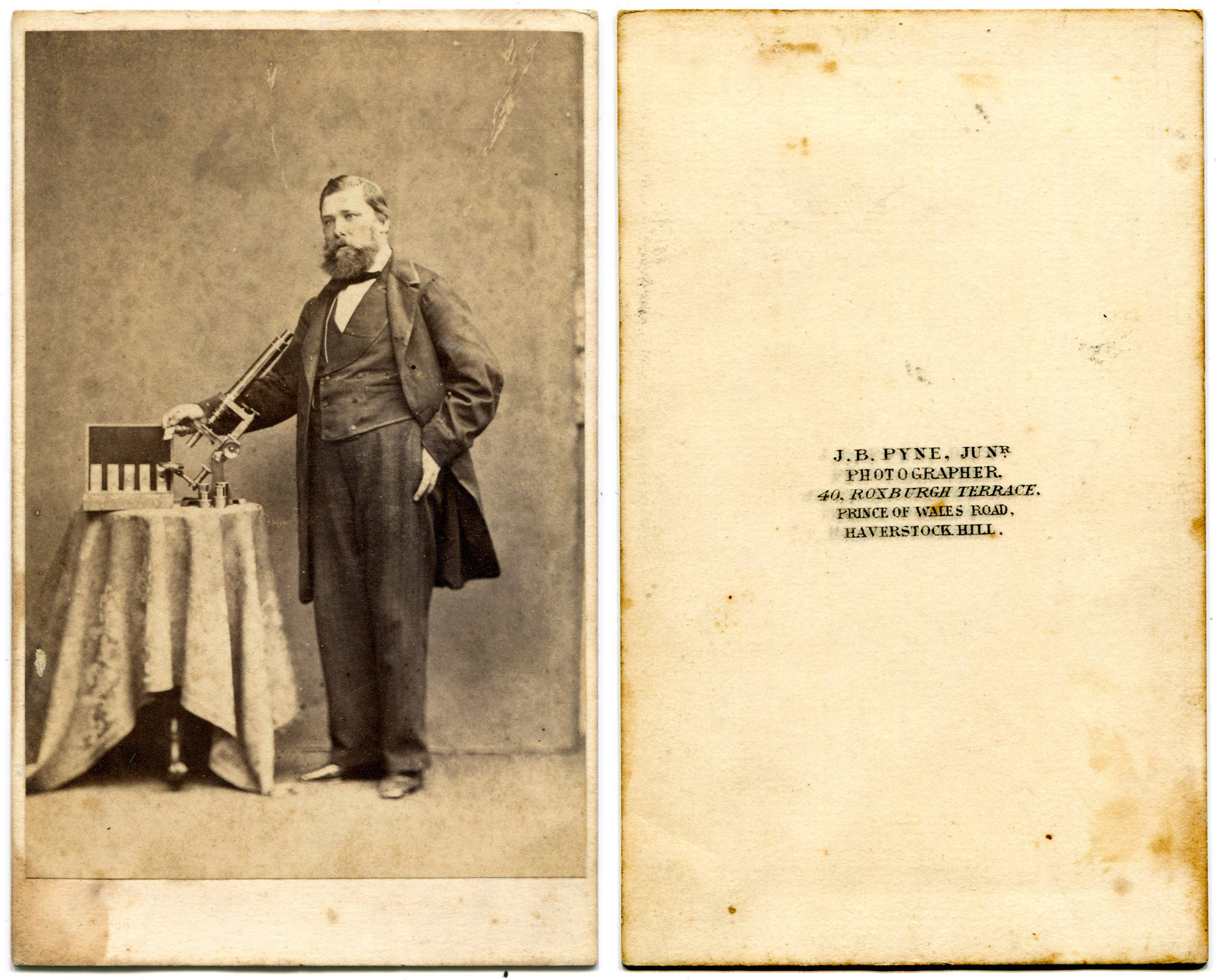 Carte De Visite CDV Of A Gent With His Subtantial Bar Limb Microscope And Slide Collection The Photographer PB Pyne Operated At 40 Roxburgh Terrace